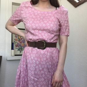 Vintage Passports Pink Floral Midi Dress